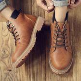 馬丁靴 男短靴 秋冬新款真皮休閒大頭鞋英倫工裝沙漠靴潮流中幫男靴子《印象精品》q1325
