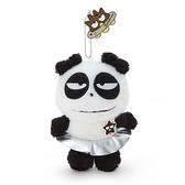 小禮堂 酷企鵝 熊貓 絨毛吊飾 玩偶吊飾 玩偶鑰匙圈 包包吊飾 (白 生日宇宙) 4550337-45319