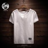 夏季薄款 亞麻短袖 T恤 男士棉麻 半袖 打底衫 V領 透氣 上衣服潮 胖體 恤衫