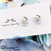 韓國少女氣質甜美百搭小清新立體花朵珍珠925 銀針耳環夾式耳環S93523  價Danica 韓系飾品