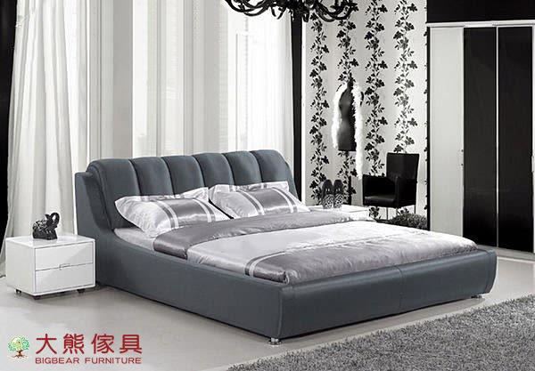 【大熊傢俱】F6002 布床 皮藝床 5尺 6尺床台 床架 沙發床 雙人 床架 牛皮軟床 儲藏床