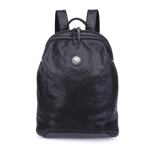 真皮後背包-黑色牛皮電腦包大容量男雙肩包73xp22[時尚巴黎]