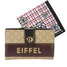 La Tour Eiffel艾菲爾鐵塔格紋PVC蝴蝶扣中夾/送帕巾(卡其色)530050-1