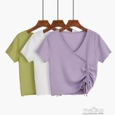 冰絲v領針織衫女套頭短袖夏季薄款抽繩短款上衣