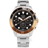 FOSSIL / FS5768 / 三眼計時 運動時尚 日期 防水100米 不鏽鋼手錶 黑色 46mm