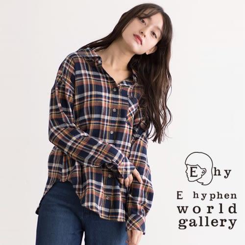 ❖ Hot item ❖ 學院格紋落肩休閒襯衫 - E hyphen world gallery