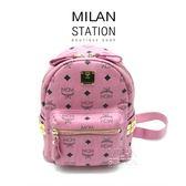 【台中米蘭站】MCM 粉色 LOGO 牛皮鉚釘 後背包