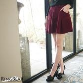質感毛呢--甜美可人雙側斜口袋前拉鍊後鬆緊百摺毛呢裙(黑.紅XL-5L)-R174眼圈熊中大尺碼