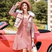 毛呢外套-短版仿狐狸毛毛領粉色時尚女夾克73ui11【巴黎精品】
