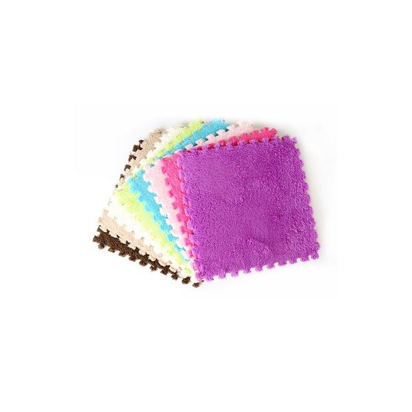 純色絨毛拼接地墊 保暖毛絨巧拼地墊 EVA防滑踏墊 5色可選【BB036】《約翰家庭百貨