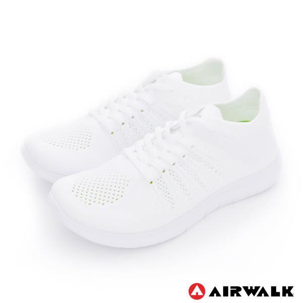 美國AIRWALK- 城市運動系列 暢銷款 輕量 編織 慢跑鞋- 男純白