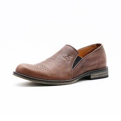 真皮短靴-雕花英倫紳士懶人套腳男靴子4色73kk70【巴黎精品】