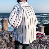 夏季港風條紋長袖襯衫男寬鬆休閒七分袖襯衣外套青少年潮流上衣服