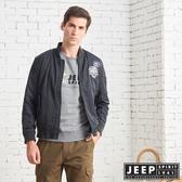 【JEEP】型男撞色立領休閒飛行外套 (黑色)