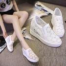 內增高小白鞋一腳蹬網鞋女高跟板鞋春夏韓版運動休閒鞋 【米娜小鋪】