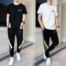 2021夏季耐克韓版新款男休閒運動套裝百搭帥氣圓領t恤長褲兩件套 3C優購