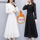 大碼秋裝新款女裝中長款修身白色裙子蕾絲加絨加厚秋冬打底連身裙 超值價