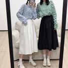 半身裙日系女工裝裙秋冬季高腰百褶裙A字傘裙學生中長款過膝白裙