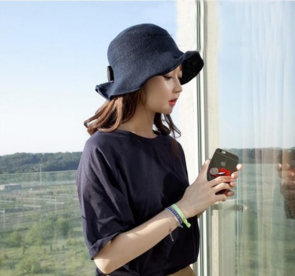 【 missy shop 】  韓國.法式優雅小黑蝴蝶結圓帽 毛帽草帽棉麻帽遮陽 可收折