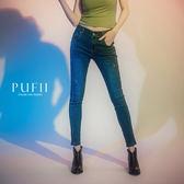 PUFII-褲子 大尺碼側車線造型牛仔窄管長褲-0905 現+預 秋【CP17206】