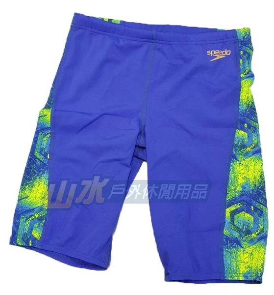 【山水網路商城】日本品牌 speedo 男人競技及膝泳褲 AlloverCurve Panel 藍 SD809197A827003