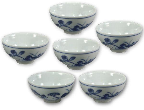 鹿港窯~ 青花瓷手繪茶杯【荷花】(6入)