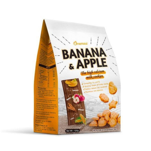 Omenas 高鈣牛奶餅乾 香蕉蘋果(120g/包) | OS小舖