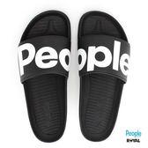 PEOPLE 新竹皇家 The Lennon Slide 黑色 輕量 拖鞋 男女款 NO.A6818