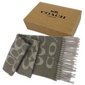 【COACH】經典C LOGO 喀什米爾羊毛流蘇圍巾禮盒(灰色)