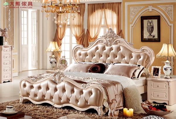 【大熊傢俱】LH FA-502 法式床 六尺床 皮床 雙人床 床台 歐式 臥室傢俱 床架 新古典