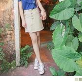 《CA2013》臧芮軒。高含棉高腰交錯排扣抽鬚A字短裙 OrangeBear