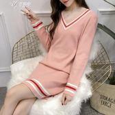 針織女韓版新款秋裝寬松v領套頭打底毛衣中長款冬伊芙莎