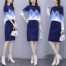 套裝2020秋冬加厚大碼女裝M-4XL時尚氣質複古套裝加厚毛衣+半身裙兩件套3F032-A.2073 1號公館