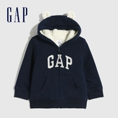 Gap嬰兒 Logo保暖仿羊羔絨開襟連帽外套 619821-藏青色