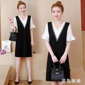 大尺碼遮肚連身裙女夏裝短袖2019新款韓版拼接假兩件套裙子zt1174 【黑色妹妹】