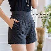 加大尺碼--氣質優雅時尚精緻雙層蕾絲高腰百搭黑色A字短褲(黑XL-5L)-R218眼圈熊中大尺碼