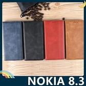 NOKIA 8.3 復古格紋保護套 磨砂皮質側翻皮套 隱形磁吸 支架 插卡 手機套 手機殼 諾基亞