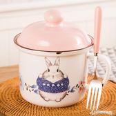 食堂打飯缸防燙陶瓷微波爐便當盒仿搪瓷泡面杯方便面碗帶蓋學生餐  Cocoa