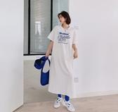 洋裝長版裙T卹裙韓版寬鬆大碼過膝連衣裙卡通印花短袖t卹女NC417-884.1號公館