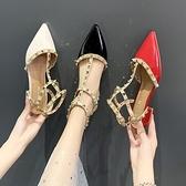 凉鞋-包頭涼鞋女仙女風潮鉚釘2021年新款時裝紅色粗跟尖頭網紅單鞋