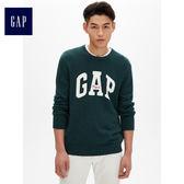 Gap男裝 Logo圓領長袖針織衫 474794-雲杉綠