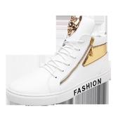 白色高筒鞋嘻哈休閒鞋百搭小白鞋潮正韓潮流板鞋內增高男鞋子