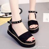 厚底坡跟一字扣帶涼鞋女夏季新款韓版時尚鬆糕露趾百搭女鞋子 樂芙美鞋