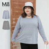 Miss38-(現貨)【A00948】大尺碼T恤 百搭條紋長袖上衣 純棉彈力 圓領 基本款 薄長T -中大尺碼女裝