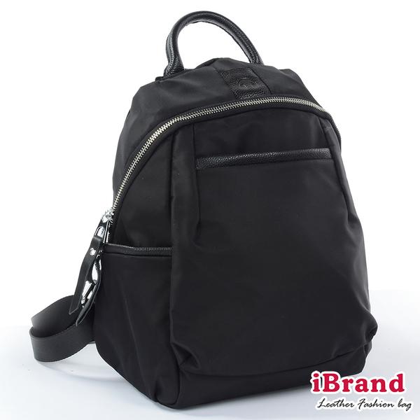 【i Brand】簡約真皮尼龍後背包-黑 SPL-61615-BK