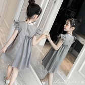 洋裝/連身裙女童夏季純棉裝兒童裙子洋氣夏裝韓版2021年夏款女孩中大童 快速出貨