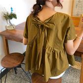 (全館一件免運)DE SHOP~(XA-7166)chic蝴蝶結綁帶後背鏤空短袖襯衫