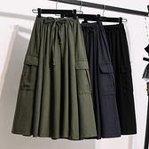 大碼休閒半裙M-5XL胖妹妹大概碼純色工裝傘裙寬松顯瘦百褶純棉中長大碼款半身裙M3C077依佳衣