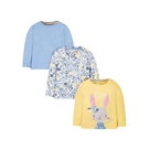 mothercare 3入粉藍兔子長袖T...