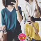 BOBO小中大尺碼【9061】寬鬆V領薄針織七分袖衣 共8色 現貨